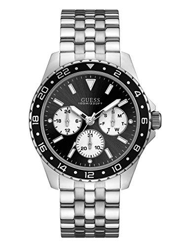 Guess Men's Stainless Steel Bracelet Watch, Color Silver-Tone/Black (Model: U1107G1) ()