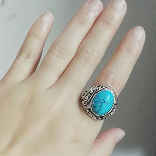 Aura Jewelry 1 pcs Sterling Silver Tribal Jewelry Turquoise Oval Gemstone Ring Size 13