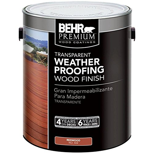 BEHR 1 Gal. Redwood Premium Transparent Deck, Fence & Siding Weatherproofing Wood Finish