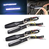 LeaningTech Universal Motorcycle Bike 4pcs 12 LED Turn Signal Indicator Light Blinker Lamp White Bendable