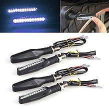 LeaningTech Universal Motorcycle Bike 4pcs 12 LED Turn Signal Indicator Light Blinker Lamp White Bendable