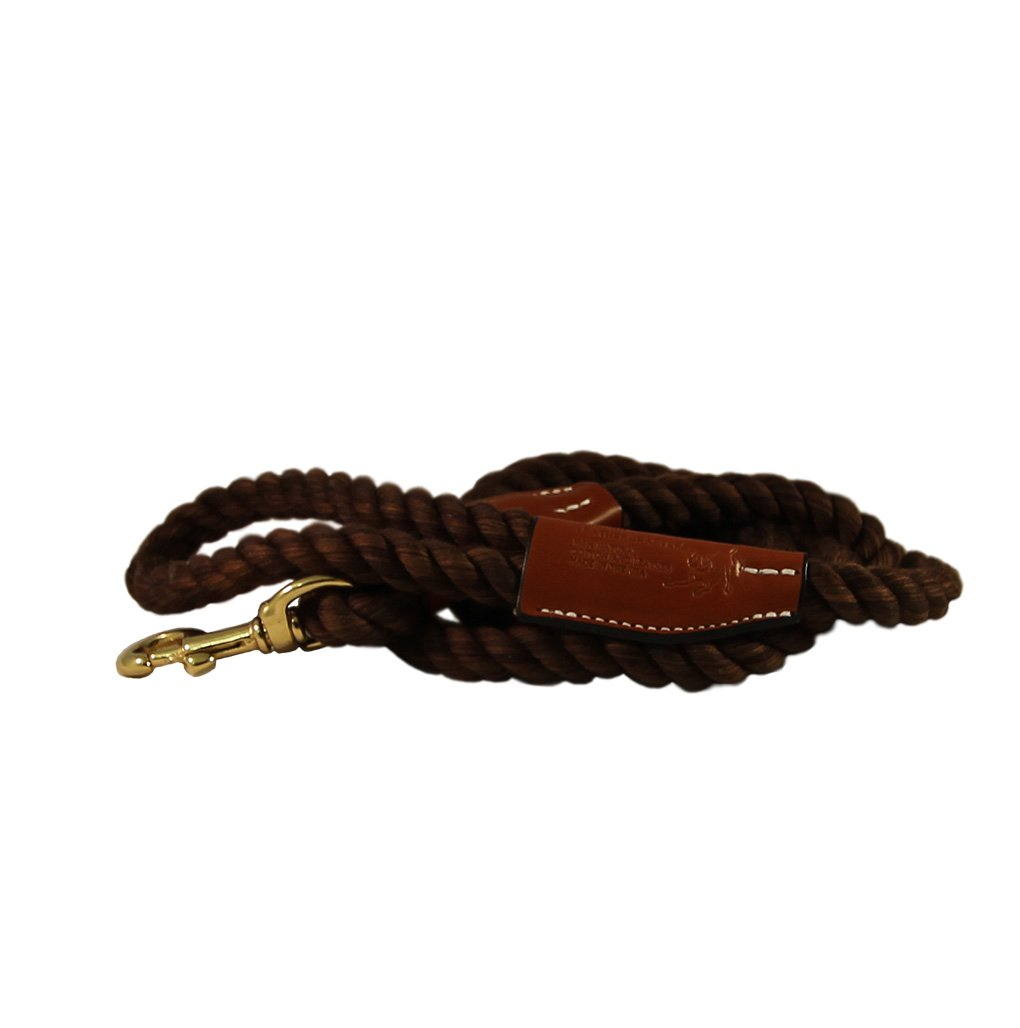 1 2  WIDTH COTTON ROPE LEATHER LEASH SNAP-END BROWN