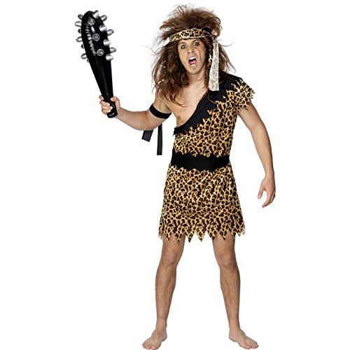 Smiffy's Men's Caveman Costume, Tunic, Headband and Armband, Caveman, Serious Fun, Size L, 20443 (Cave Man And Woman Costumes)