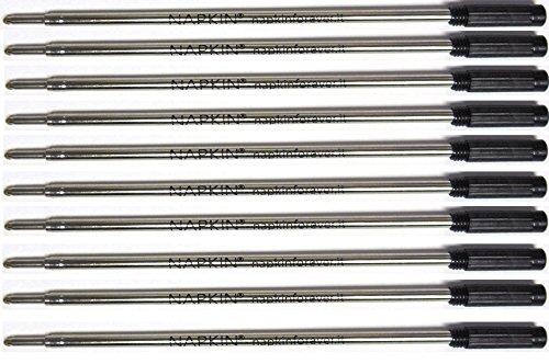 10 Napkin Forever Cross Style Ballpoint Pen Refills, Black Medium, Bulk Packed,