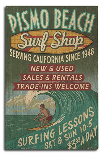 Pismo Beach, California - Surf Shop Vintage Sign (10x15 Wood Wall Sign, Wall Decor Ready to - Usa Pismo Beach California