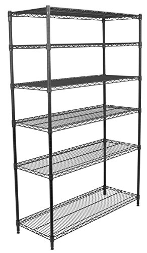 Internet's Best 6-Tier Wire Shelving | Flat Black | Heavy Duty Shelf | Wide Adjustable Rack Unit | Kitchen Storage (Eagle Shelf Metal)