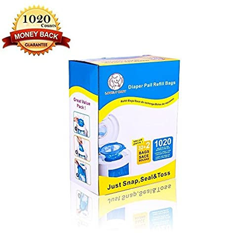 Diaper Pail Refill Bags (1020 Counts) Fully Compatible with Arm&Hammer Disposal System