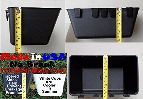 Pinnon Hatch Farms Cage Cups (12pk, Black) 1/2 Gallon / 64 fl oz Hanging Feed & Water Cage ()
