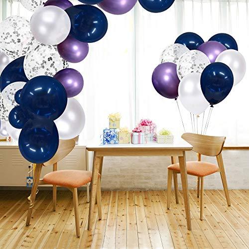 SKYIOL Ballons Bleu Violet Blanc Argenté Confettis Métalliques Ballons Hélium Latex des Décorations Fête de Ruban 10m pour Garçons Filles Enfants Mariage Douche de Bébé, 50 Pièces 30 CM