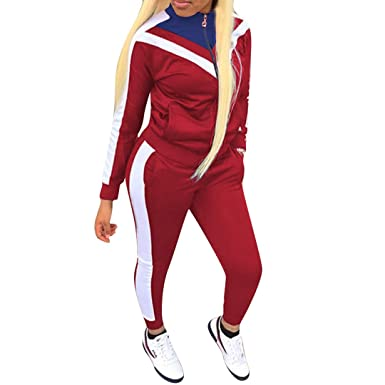 aedc0f6b616 Women Jogging Suits Color Block Long Sleeve Jacket Skinny Long Pant  Tracksuit Sets Activewear 2 Piece