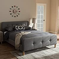 Baxton Studio Samson Fabric Upholstered King Size Platform Bed in Light Grey
