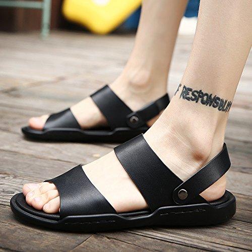 Sommer Echtleder Männer Sandalen Männer Freizeit Sandalen Dualer Gebrauch Schuh Trend Das neue Atmungsaktiv Männer Schuh ,schwarz,US=8,UK=7.5,EU=41 1/3,CN=42