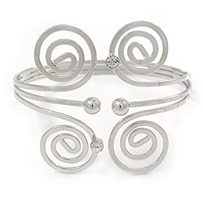 Cheap Greek Style Swirl Upper Arm, Armlet Bracelet In Rhodium Plating - 27cm L - Adjustable