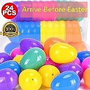 Plastic Easter Eggs 24pcs by Hoepaid, 6 Colors Easter Eggs Kids' Party Favor Sets,Bulk Easter Basket Stuffers for Easter Hun