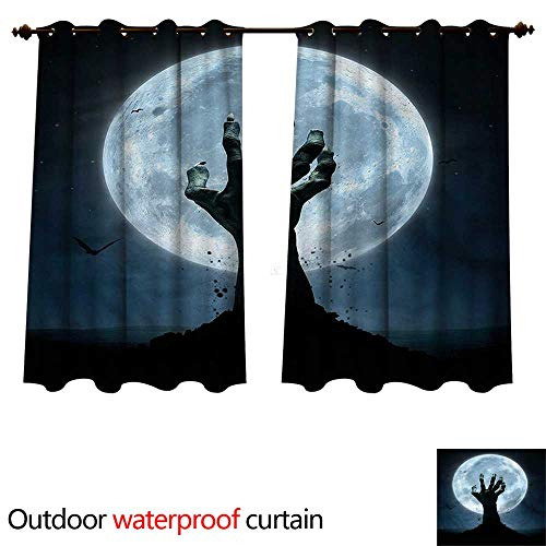 cobeDecor Halloween Outdoor Curtains for Patio Sheer Zombie Grave W96 x L72(245cm x -
