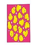 Interestlee Fleece Throw Blanket Rubber Duck Fun Baby Duckies Circle Artsy Pattern Kids Bath Toys Bubbles Hot Pink Animal Print Pink Yellow
