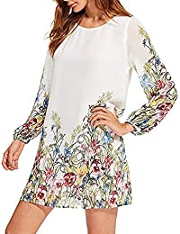 HHei_K Womens Girls Bohemian Vintage Floral Print See-Through Cropped Sleeve Round Neck Chiffon Mini Dress
