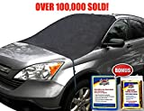 SnowOFF Windshield Snow Ice Cover - Custom Made Premium Quality Car Cover - Windproof Straps, Wings, Suction Cups, Magnets - Bonus Items - Winter Ice Rain Frost Automotive Hood Covers - 2 Sizes