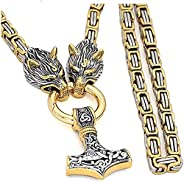 Men Viking Necklace Wolf Head Norse Thor's Hammer Mjolnir Pendant Necklace Jewelry for Men Stainless Steel