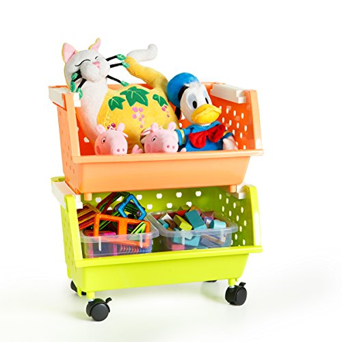 MAGDESIGNER 2 Baskets Kids' Toys Storage Organizer with Whee