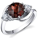 3 Stone Design 2.25 carats Garnet Ring in Sterling Silver Rhodium Nickel Finish Size 8