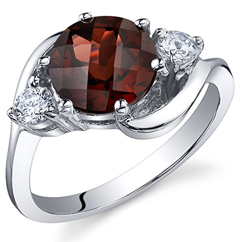 3 Stone Design 2.25 carats Garnet Ring in Sterling Silver Rhodium Nickel (Cut Garnet 3 Stone Ring)