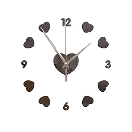 New 3D Wall Clock DIY Clocks Reloj De Pared Quartz Watch Living Room Simple Love Circular