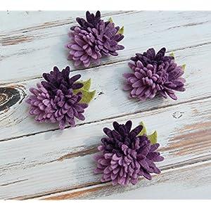 4 Mini Daisies Purples Trios Wool Felt Flowers - Set of 4 with Leaves 75