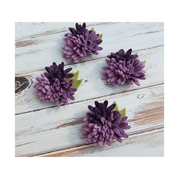 4 Mini Daisies Purples Trios Wool Felt Flowers – Set of 4 with Leaves