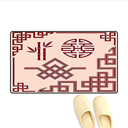 (Bath Mat Set of Oriental Design Elements Traditional Eastern Knot and Bamboo Framework Door Mats Area Rug Peach and Ruby)