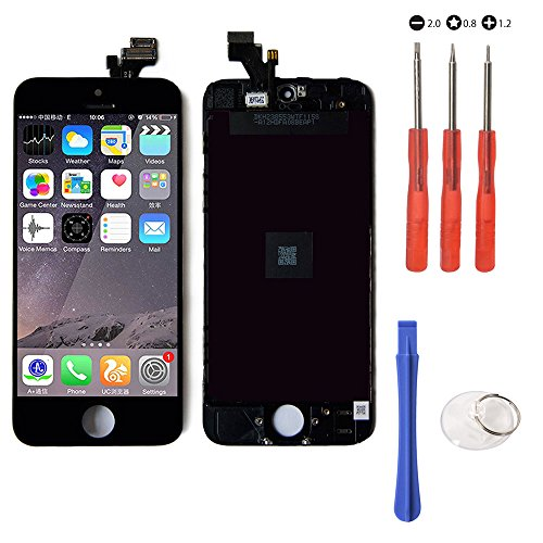 (Mobofix Touch Screen Digitizer Assembly Replacement for iPhone 5 Black Glass LCD Display FREE Repair Tool Kits & Screen Protector Film US Ship)