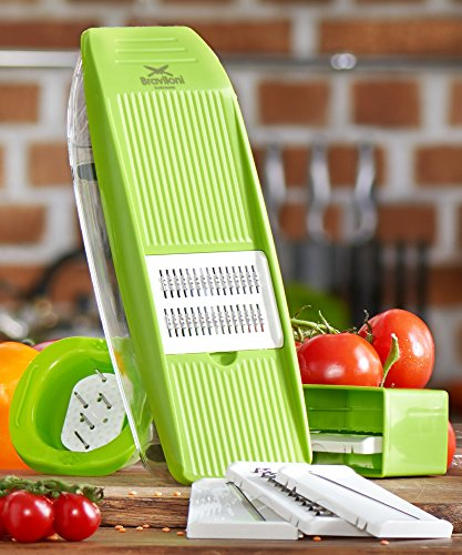 Mandoline Slicer - Premium Vegetable Potato Slicer Grater - Cutter for Tomato, Onion, Cucumber, Zucchini Pasta, Cheese - Julienne Veggie Peeler Chopper - Food Storage, 5 Blades & Hand Protector (Food Onion Progressive Chopper)