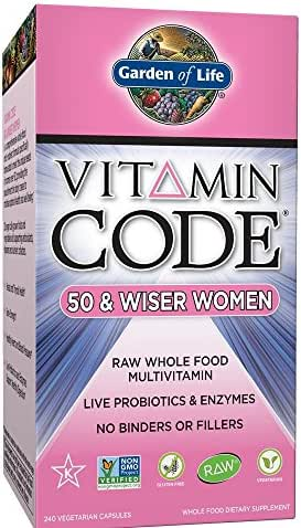 Garden of Life Multivitamin for Women - Vitamin Code 50 & Wiser Women's Raw Whole Food Vitamin Supplement with Probiotics, Vegetarian, 240 Count
