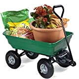 HAPPYGRILL Garden Cart Wagon, Large Garden Patio Wheel Barrow, 650 lbs Capacity Dump Carrier