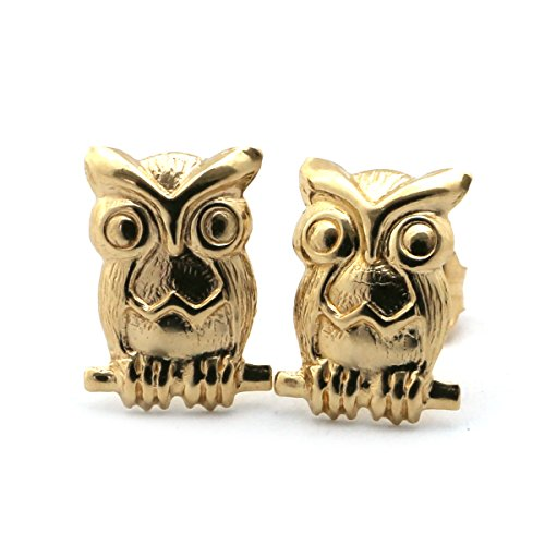 14k Yellow Gold Owl (14k Yellow Gold Owl Stud Earrings)