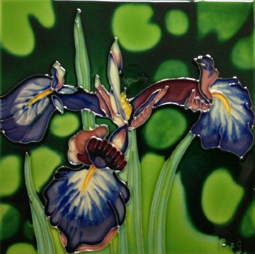 Continental Art Center BD-0003 8 by 8-Inch Purple Iris Ceramic Art Tile
