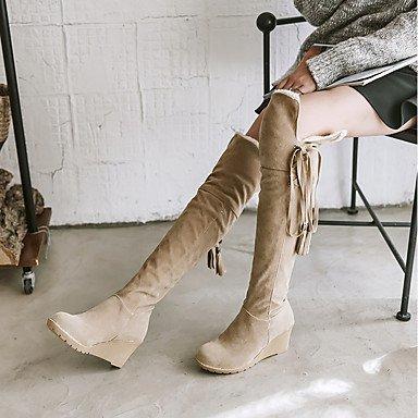 RTRY Zapatos De Mujer Flocado Moda Otoño Invierno Botas Botas De Tacón Cuña Puntera Redonda Sobre La Rodilla Botas Borla Para Los Eventuales Parte &Amp; Noche Ejército US6 / EU36 / UK4 / CN36