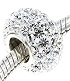 Best Wing Jewelry .925 Sterling Silver Core 'White Clear Crystals' Charm Bead