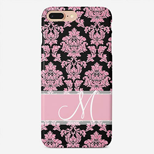 (ZHIQCH iPhone 7/8 Plus Case Pink Rose Gold Glitter and Black Damask Slim Fit Hard Plastic Cover Cases Full Protective Anti-Scratch Resistant Compatible with iPhone 7/8)