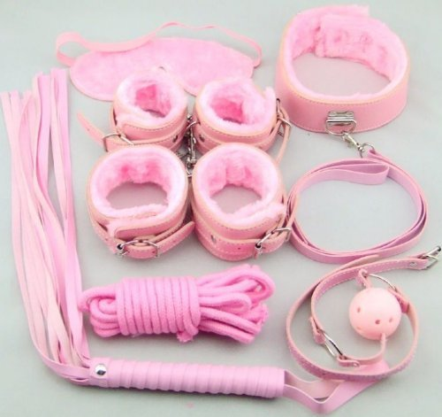 OHIME 7pcs Pink Fetish Bondage Restraint Beginner Complete Gear Cuffs Shackles Sex Toy Set by Green baby
