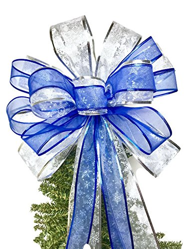 Christmas Bow Wreath Hanger - Wreath Bow, Blue and Silver Wreath Bows, Tree Topper, Large Gift Bow, Wreath Bows, Holiday Bow, Home Decor, Christmas Bows, Swag Bow,- Handmade Bow