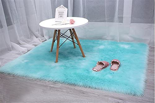 Faux Sheepskin Rug,Artificial Wool Chair Cover Soft Warm Room Carpet Shaggy Rug Square Area Rugs Seat Pad,5.3ftx5.3ft,Blue
