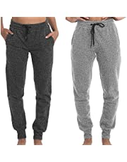 TEXFIT 2-Pack Joggers for Women with Side Pockets, Rib Cuff Bottoms, Soft Fleece Sweatpants for Women (2pcs Set)