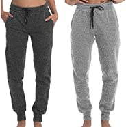 TEXFIT 2-Pack Joggers for Women with Side Pockets, Rib Cuff Bottoms, Soft Fleece Sweatpants for Women (2pcs Se