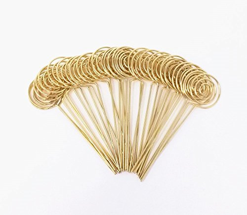 Honbay 30pcs DIY Gold Round Shape Ring Loop Craft Wire Clip Table Card Note Photo Memo Holder Metal Clamp Clay Cake Decoration Accessories