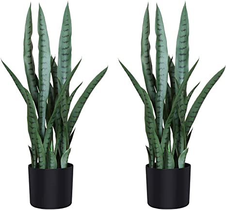 Fopamtri Artificial Snake Plant 30 Inch Fake Sansevieria Trifasciata with 21 Leaves Faux Plant for Indoor Outdoor Feaux Plants in Pot for Home Office Perfect Housewarming Gift 30 Inch, 1 Pack, Green