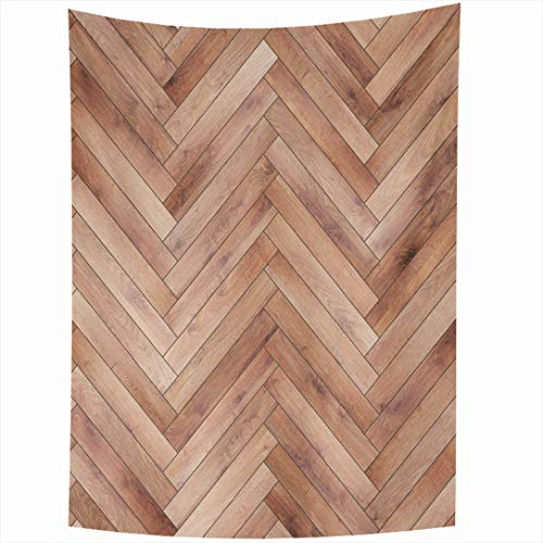 Ahawoso Tapestry 60 x 80 Inches Light Brown Ash Wood Parquet Herringbone Natural Arrow Beechwood Chevron Floor Flooring Design Wall Hanging Home Decor Tapestries for Living Room Bedroom Dorm