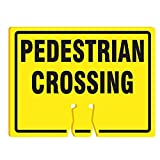 RK Traffic Cone Sign 39 Legend ''Pedestrian Crossing'', 18'' Width x 14'' Height, Black on Yellow