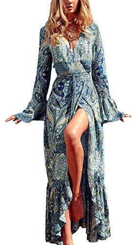 R.Vivimos Women Summer Long Sleeve Cardigan Sexy Maxi Long Dresses, Lake Blue, US XL 16/18