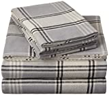 Pinzon 160 Gram Plaid Flannel Sheet Set - Queen, Grey Plaid - FLSS-GYPL-QN